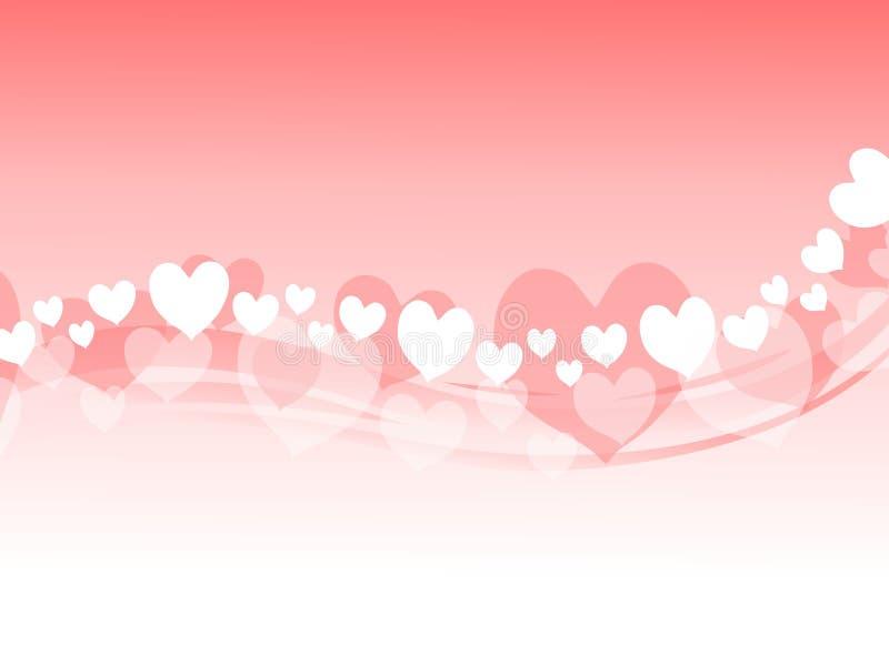 Fundo cor-de-rosa de Swoosh dos corações do Valentim ilustração royalty free