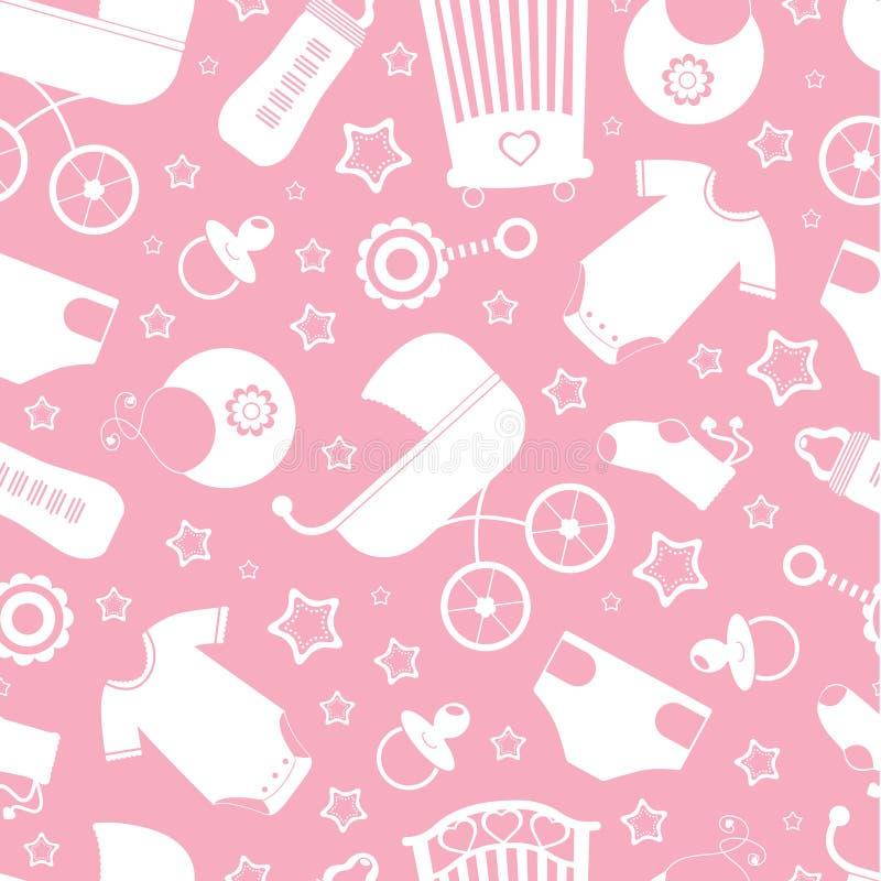 Fundo cor-de-rosa do chuveiro de bebê ilustração stock