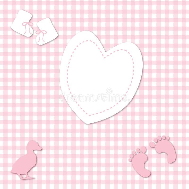 Fundo cor-de-rosa do guingão do bebé ilustração do vetor
