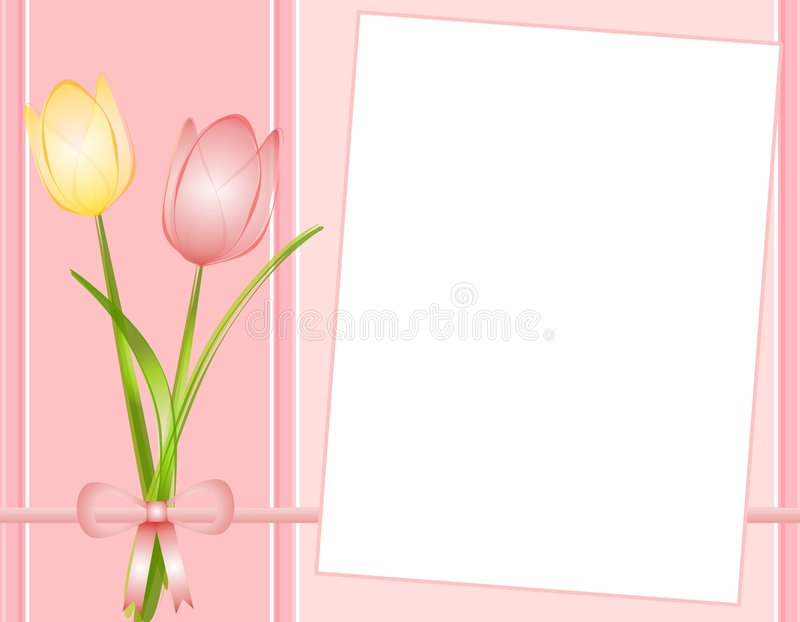 Fundo cor-de-rosa do papel de nota dos Tulips da mola ilustração stock
