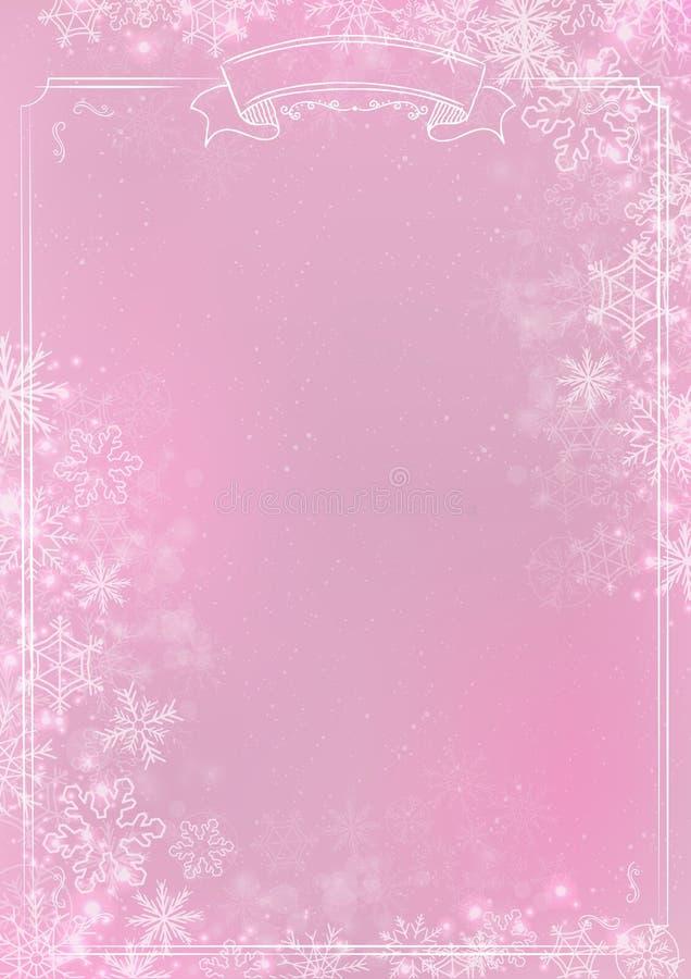 Fundo cor-de-rosa do papel do inverno do inclinação com beira do floco de neve ilustração stock