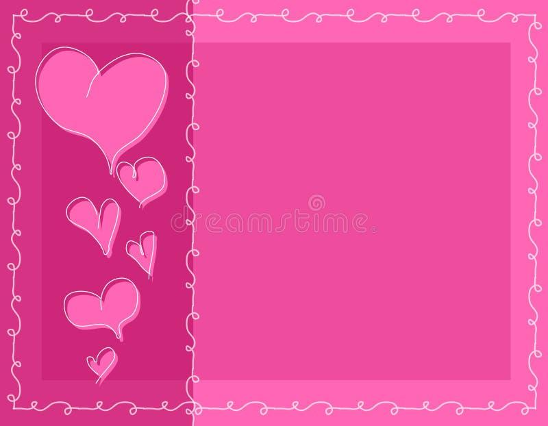 Fundo cor-de-rosa dos corações do Valentim do Doodle ilustração royalty free
