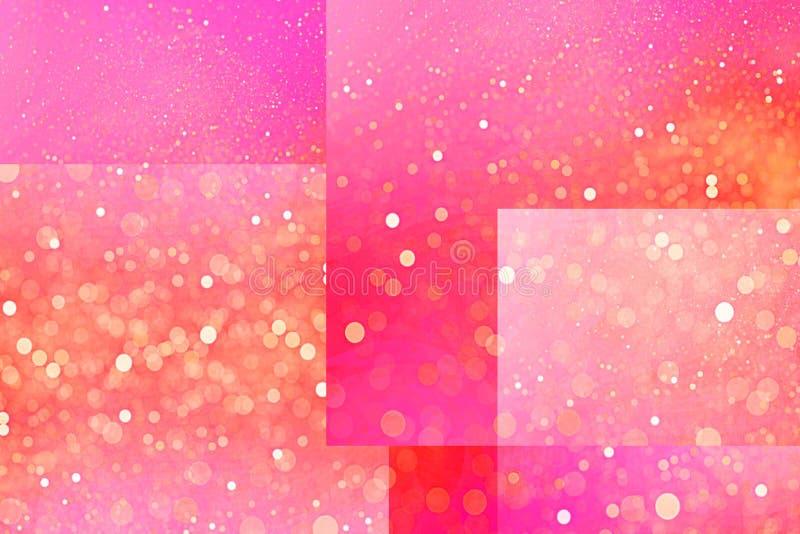 Fundo cor-de-rosa dos cubos e das linhas com sparkles defocused do efeito do bokeh ilustração stock