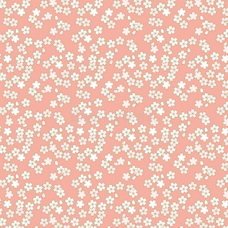 Fundo cor-de-rosa e dourado sem emenda do teste padrão de flor da flor de cerejeira ilustração do vetor