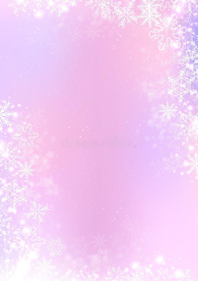 Fundo cor-de-rosa e roxo do papel do inverno com beira do floco de neve ilustração royalty free