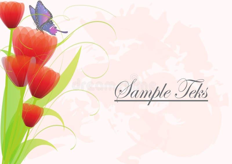 Fundo cor-de-rosa floral com a rosa e a borboleta vermelhas da flor Convite ou cartão ilustração stock