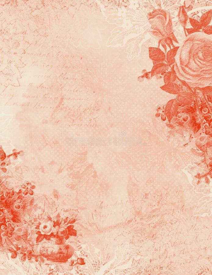 Fundo cor-de-rosa floral Textured gasto antigo ilustração do vetor