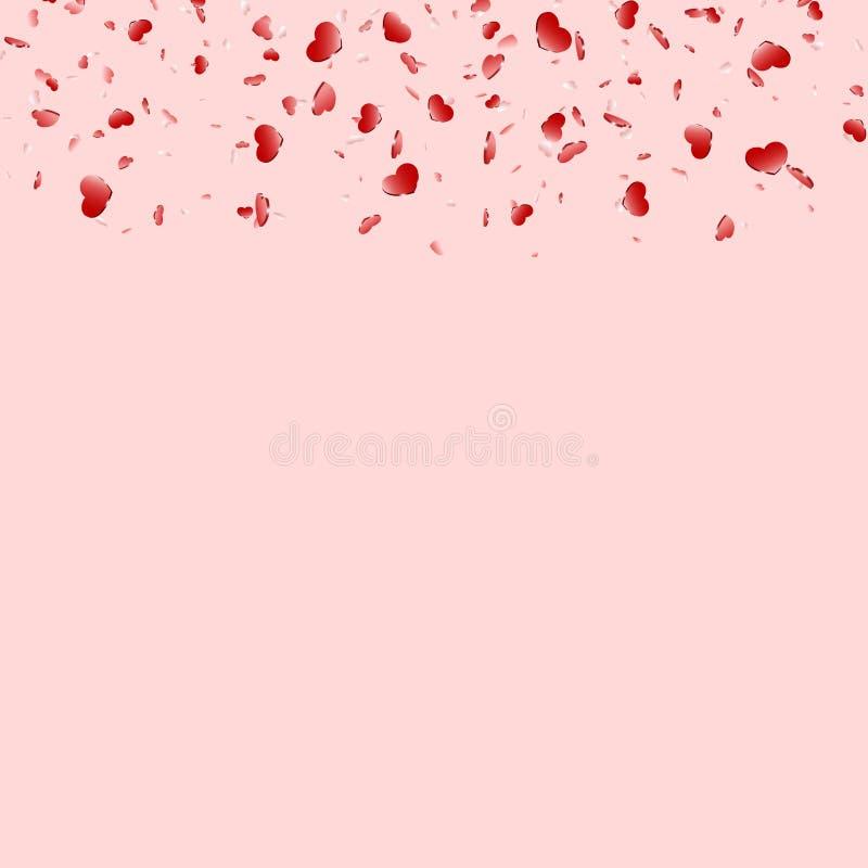 Fundo cor-de-rosa isolado confetes de queda do coração Corações cor-de-rosa da queda Decora??o de Valentine Day Projeto do elemen ilustração do vetor