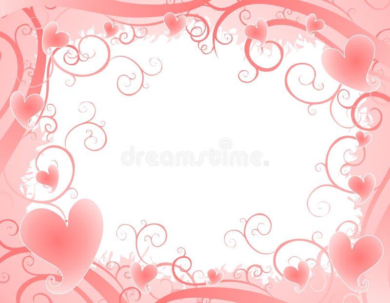 Fundo cor-de-rosa macio 2 dos redemoinhos dos corações ilustração royalty free