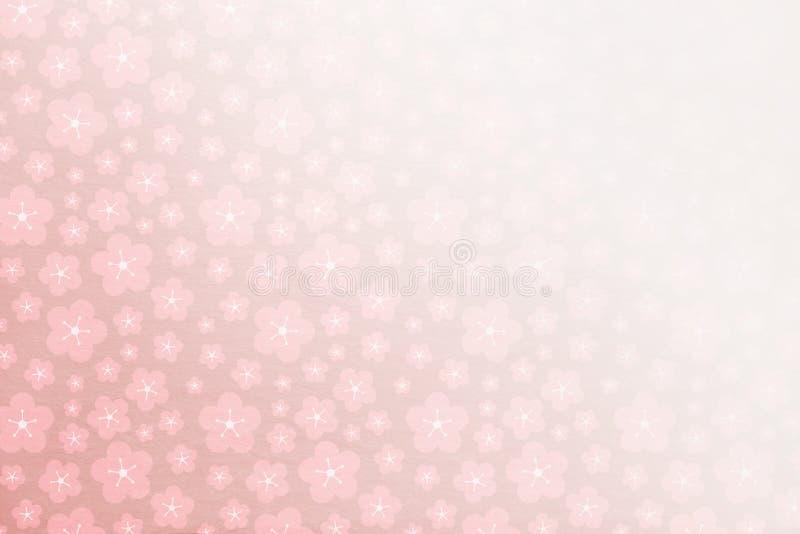 Fundo cor-de-rosa macio com da textura as flores de pedra macias atrás - se desvanecendo no canto -, blosso da mola de sakura da  ilustração stock
