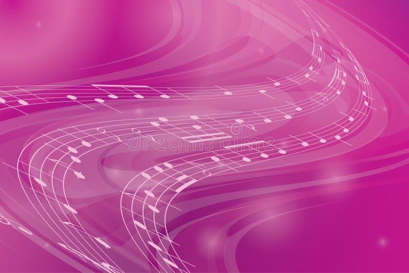 Fundo cor-de-rosa ondulado da música ilustração stock