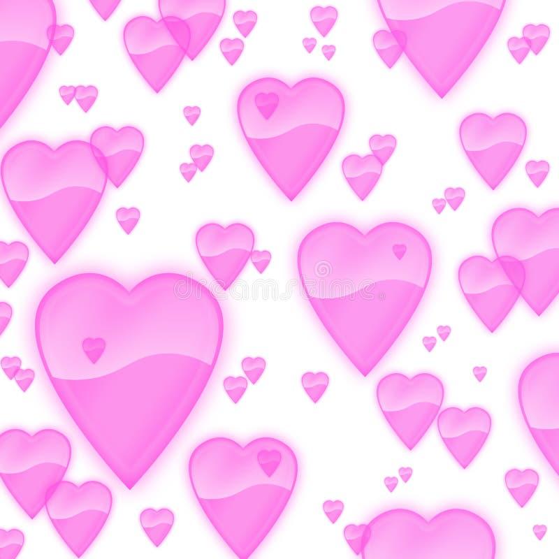 Fundo cor-de-rosa opaco claro dos corações ilustração do vetor