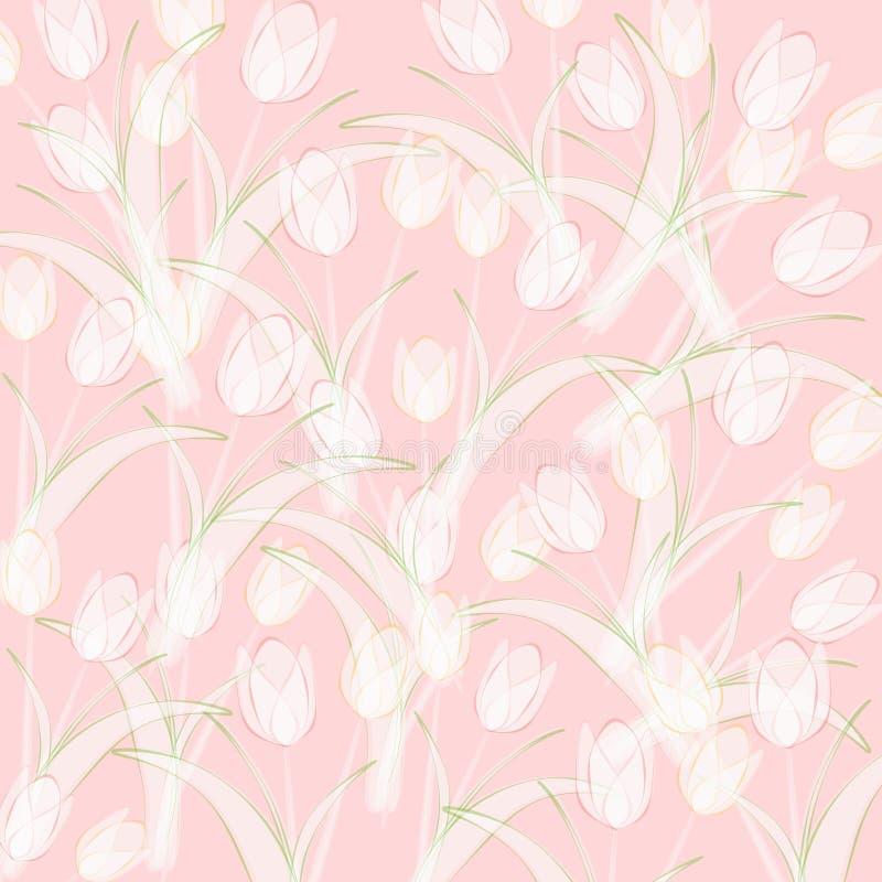 Fundo cor-de-rosa opaco dos Tulips da mola ilustração stock
