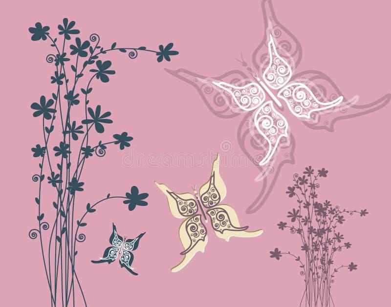 Fundo cor-de-rosa retro com silhueta das flores ilustração do vetor
