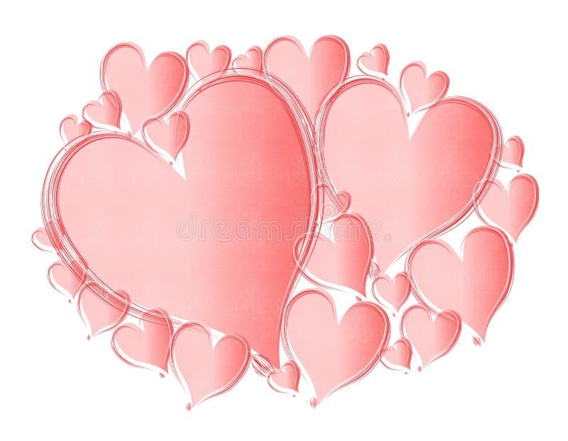 Fundo cor-de-rosa Textured luz dos corações ilustração do vetor