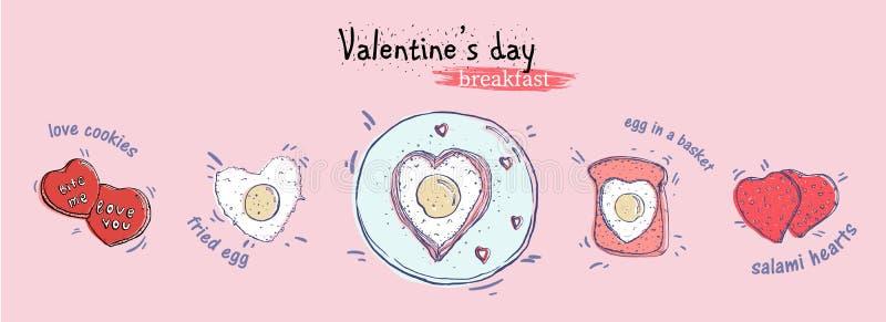 Fundo cor-de-rosa tirado do illustrationon da opinião superior do café da manhã do dia de Valentim mão horisontal ilustração stock