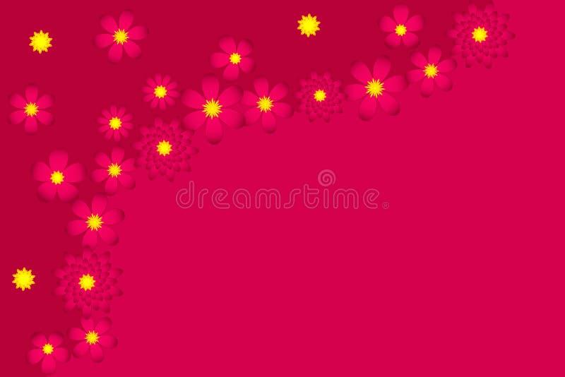 fundo Cor-de-rosa-vermelho com flores imagens de stock