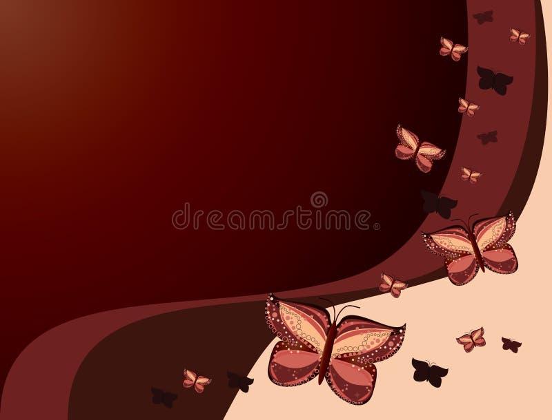 Fundo cor-de-rosa vermelho da borboleta ilustração royalty free
