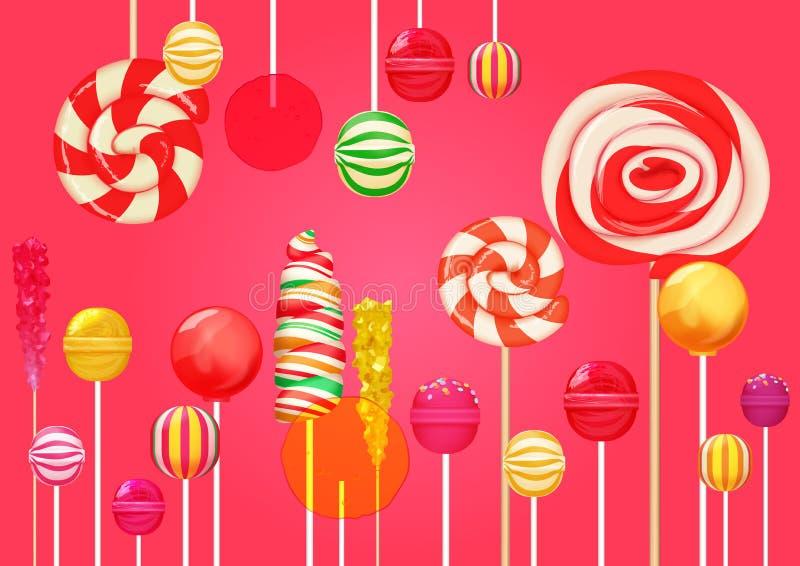 Fundo cor-de-rosa vermelho do açúcar com os doces coloridos brilhantes dos doces dos pirulitos A loja dos doces Pirulito doce da  ilustração stock
