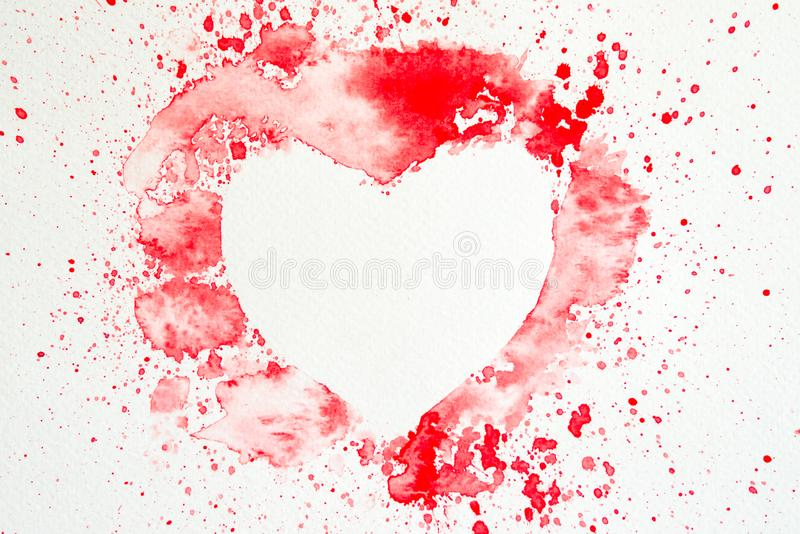 fundo Coração-dado forma da aquarela fotos de stock