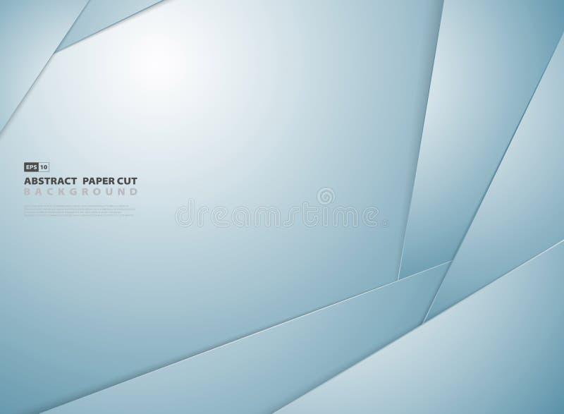 Fundo cortado de papel azul do projeto do teste padrão da forma do inclinação do sumário Vetor eps10 da ilustra??o ilustração stock