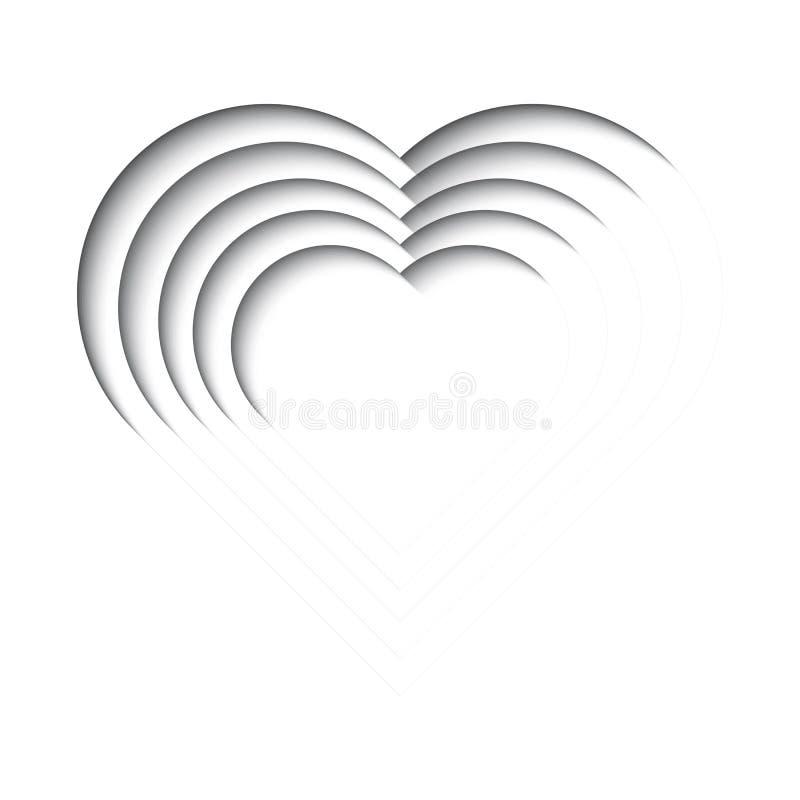 Fundo cortado de papel com 3d efeito, forma do coração em preto e branco ilustração stock