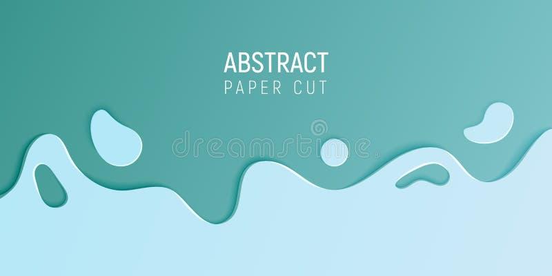 Fundo cortado de papel do limo do sumário Bandeira com fundo abstrato do limo com as ondas cianas do corte do papel azul Vetor ilustração stock