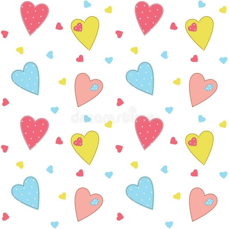 Fundo costurado bonito dos corações ilustração do vetor