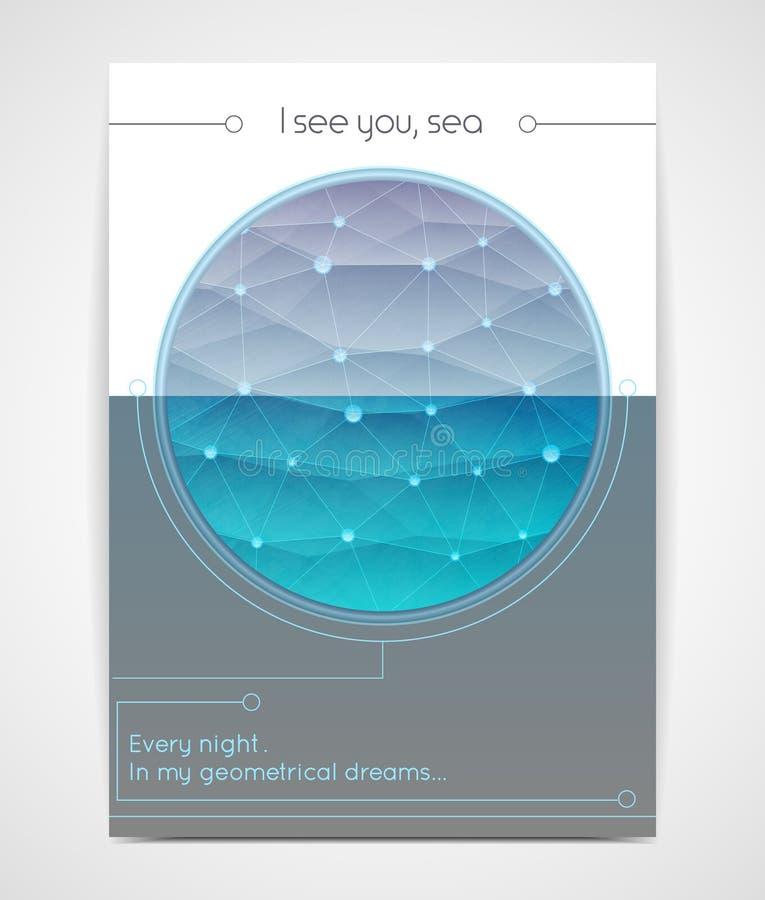 Fundo creativo Mar poligonal em um quadro redondo ilustração royalty free