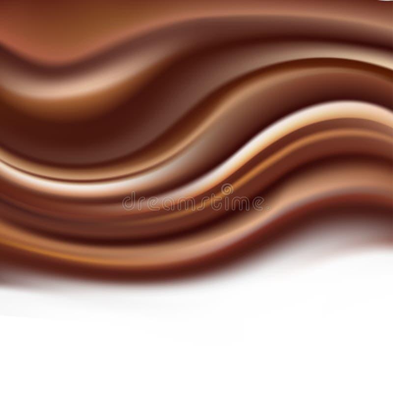 Fundo cremoso do chocolate com ondinhas onduladas marrons macias ilustração stock