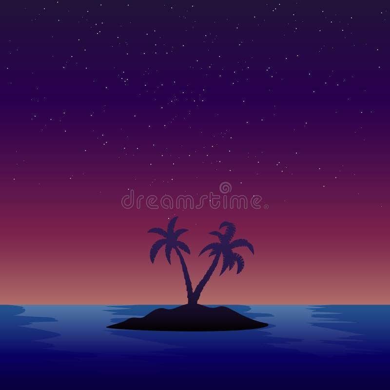 Fundo crepuscular da ilha ilustração do vetor