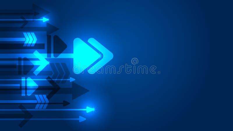 Fundo crescente do azul do conceito da ideia da seta ilustração do vetor