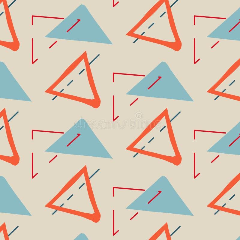 Fundo criançola criativo tirado mão Vector a ilustração com o azul alaranjado dos triângulos, minimalistic feliz do contraste ilustração royalty free