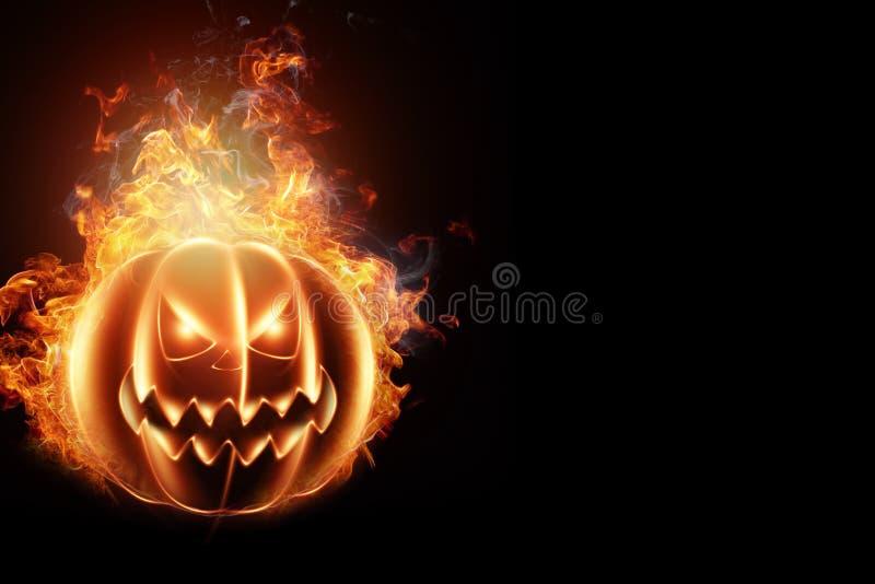 Fundo criativo, abóbora-fogo sobre fundo escuro. Fundo festivo, passageiro, 31 de outubro, design para o clube. 3d ilustração do vetor