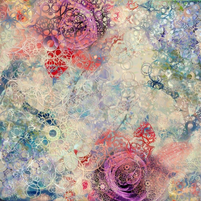 Fundo criativo com elementos florais e texturas diferentes ilustração do vetor