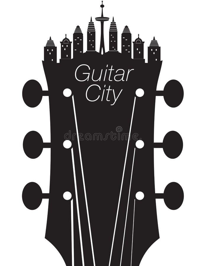 Fundo criativo da música da cidade da guitarra ilustração royalty free