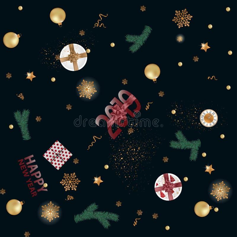 Fundo criativo do ano novo feliz 2019 Ilustração do vetor ilustração royalty free