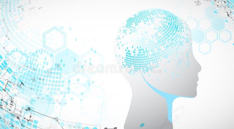 Fundo criativo do conceito do cérebro Inteligência artificial ilustração royalty free