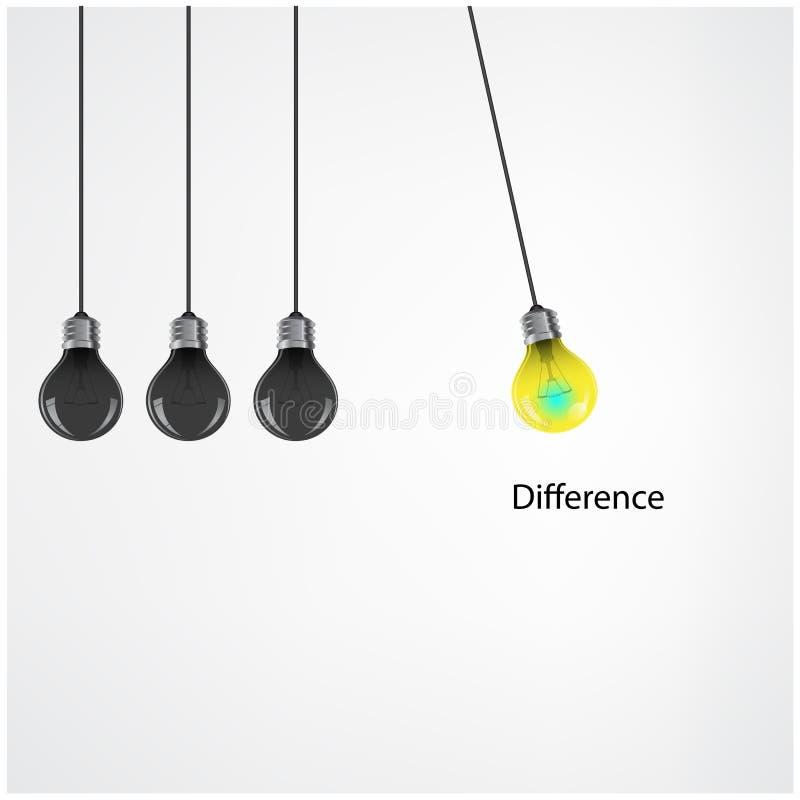 Fundo criativo do conceito da ideia da ampola, conceito da diferença ilustração stock