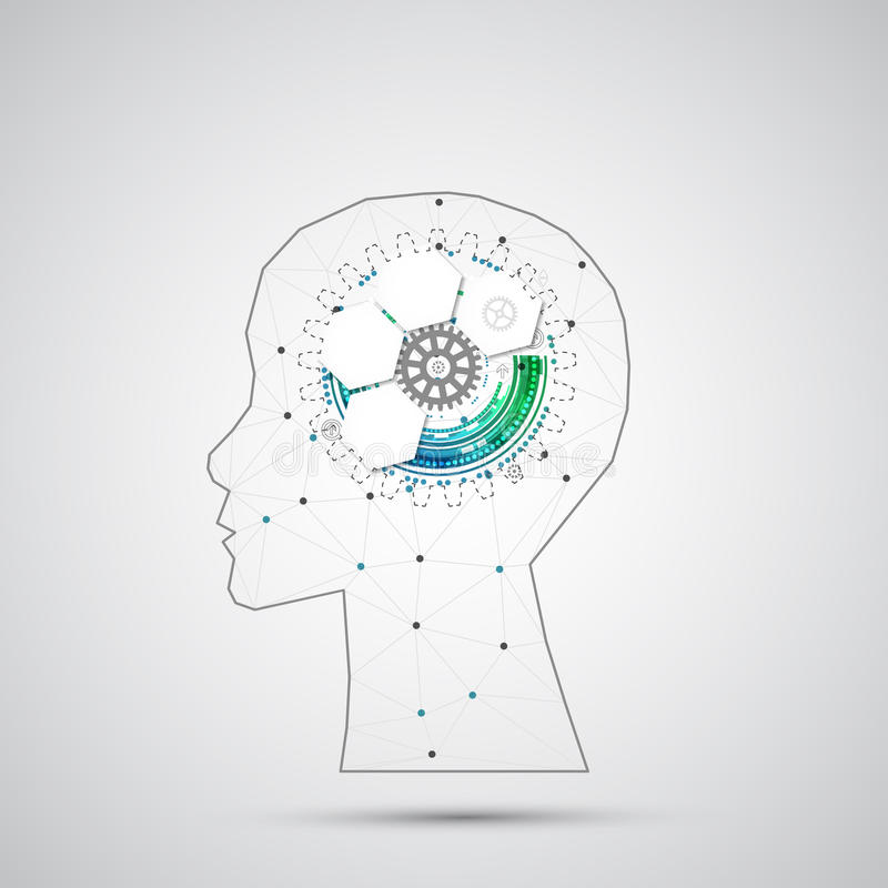 Fundo criativo do conceito do cérebro com grade triangular Artifici ilustração stock