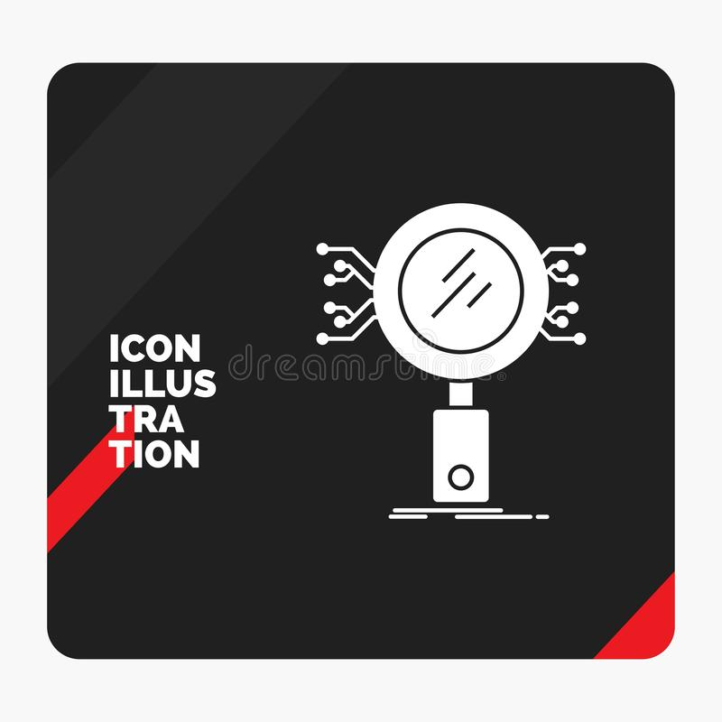 Fundo criativo vermelho e preto da apresentação para a análise, busca, informação, pesquisa, ícone do Glyph da segurança ilustração stock