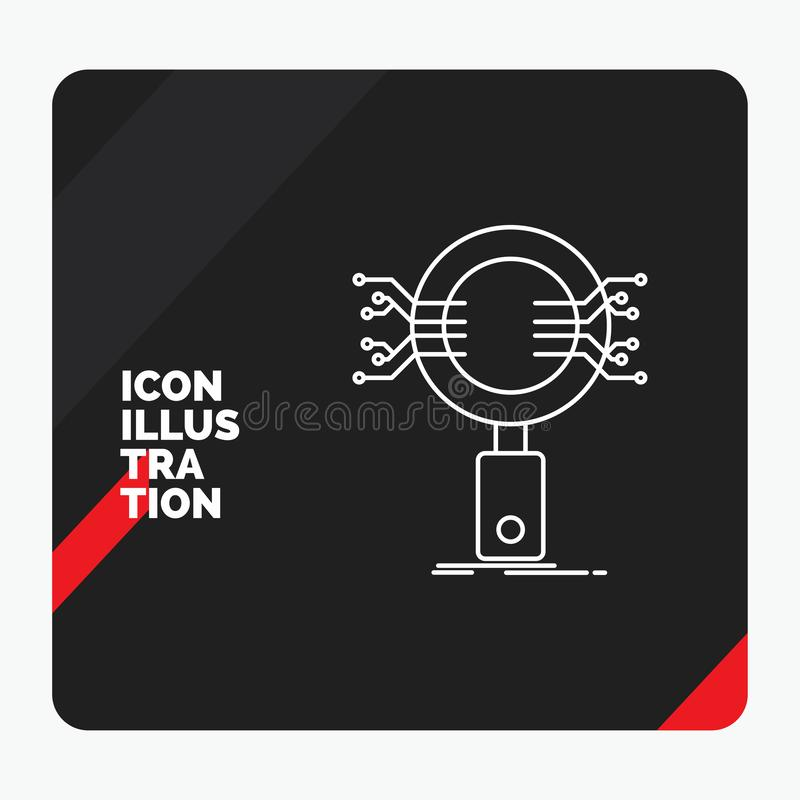 Fundo criativo vermelho e preto da apresentação para a análise, busca, informação, pesquisa, linha ícone da segurança ilustração do vetor