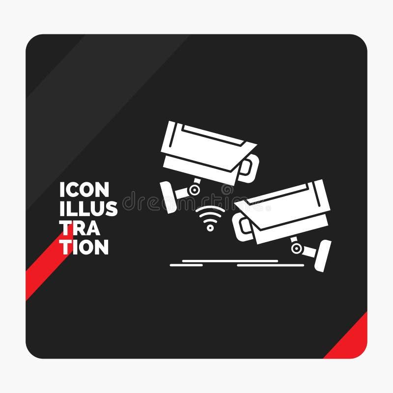 Fundo criativo vermelho e preto da apresentação para CCTV, câmera, segurança, fiscalização, ícone do Glyph da tecnologia ilustração do vetor