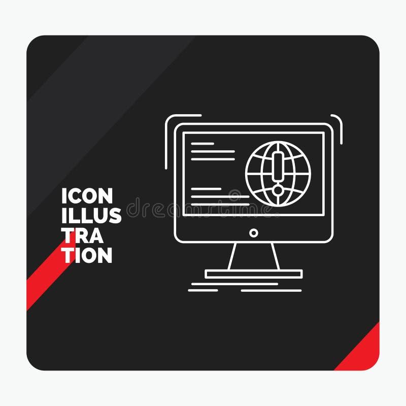 Fundo criativo vermelho e preto da apresentação para a informação, índice, desenvolvimento, Web site, linha ícone da Web ilustração royalty free
