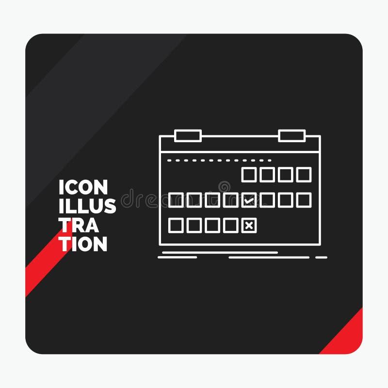 Fundo criativo vermelho e preto da apresentação para o calendário, data, evento, liberação, linha ícone da programação ilustração stock