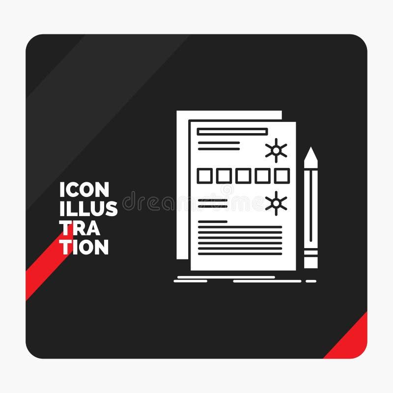 Fundo criativo vermelho e preto da apresentação para o componente, dados, projeto, hardware, ícone do Glyph do sistema ilustração do vetor