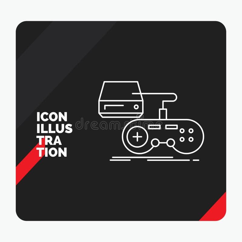 Fundo criativo vermelho e preto da apresentação para o console, jogo, jogo, playstation, linha ícone do jogo ilustração do vetor