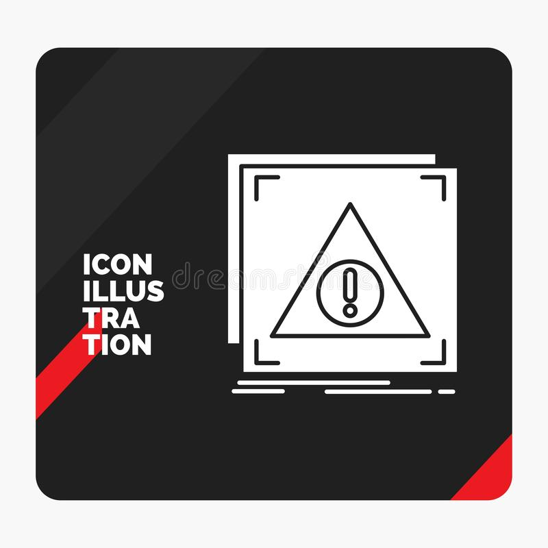 Fundo criativo vermelho e preto da apresentação para o erro, aplicação, negada, servidor, ícone alerta do Glyph ilustração stock