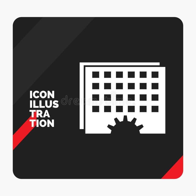Fundo criativo vermelho e preto da apresentação para o evento, gestão, processando, programação, ícone do Glyph do sincronismo ilustração do vetor
