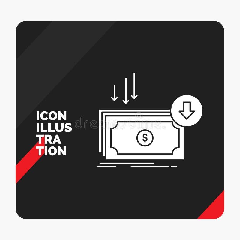 Fundo criativo vermelho e preto da apresentação para o negócio, custo, corte, despesa, finança, ícone do Glyph do dinheiro ilustração do vetor